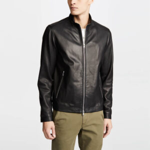 Black Zipper Leather Jacket 1 / Leather Factory Shop / LFS