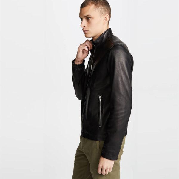 Black Zipper Leather Jacket 3 / Leather Factory Shop / LFS