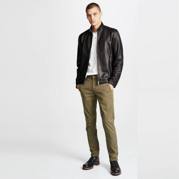 Black Zipper Leather Jacket 4 / Leather Factory Shop / LFS