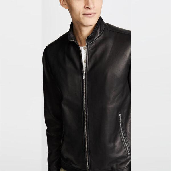 Black Zipper Leather Jacket 5 / Leather Factory Shop / LFS