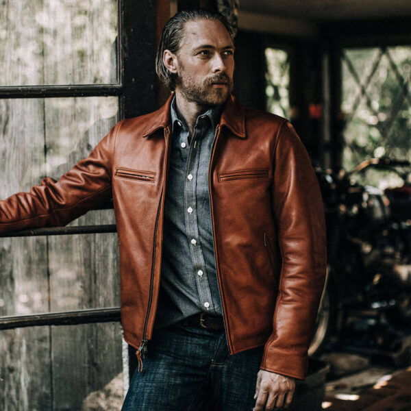 Classic Brown Moto Leather Jacket 9 / Leather Factory Shop / LFS