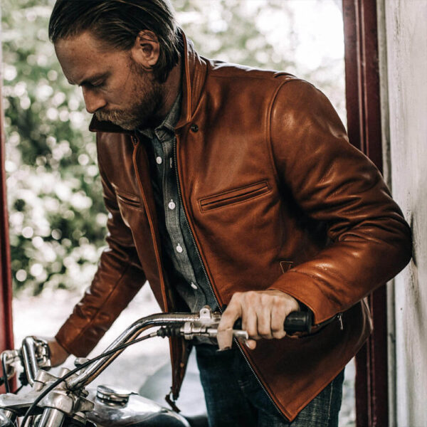 Classic Brown Moto Leather Jacket 91 / Leather Factory Shop / LFS