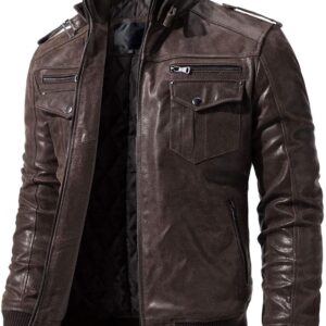 Vintage Men's Moto Biker Real Cow Brown Leather Jacket 1 / Leather Factory Shop / LFS