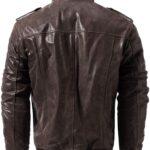 Vintage Men's Moto Biker Real Cow Brown Leather Jacket 2 / Leather Factory Shop / LFS