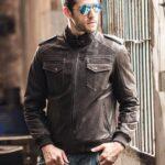 Vintage Men's Moto Biker Real Cow Brown Leather Jacket 4 / Leather Factory Shop / LFS