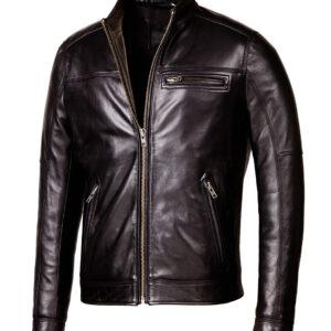 Designer Biker Black LFS Leather Jacket 1 / Leather Factory Shop / LFS