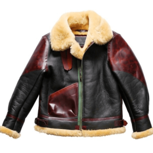 Geniune Cow Hide Leather Bomber Shearling Coat