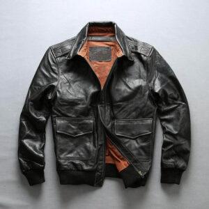 Genuine Cowhide Slim-fit Pilot Jacket